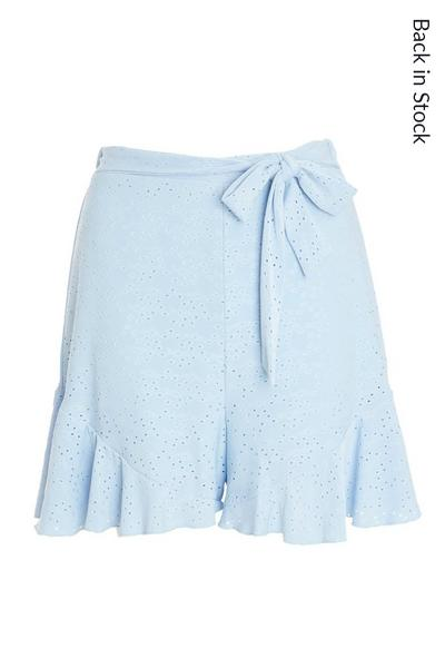 Blue Broderie Frill Shorts